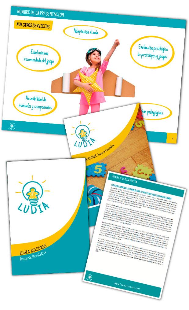 Branding y elementos corporativos Ludia Asesoras lateral